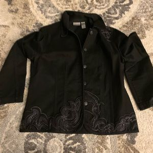 Black jean jacket with silver designs